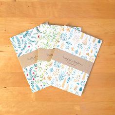 Conjunto de 3 cuadernos de botánicas, patrón diario, diario, hecho a mano, artículos de papelería, carnet, patrón de botánica