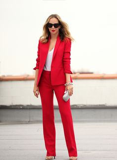 Red blazer and pants.