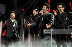 Singers Gianluca Ginoble of Il Volo, Natalia Jimenez, Ignazio Boschetto and Piero Barone of Il Volo perform perform onstage during the 16th Latin GRAMMY Awards at the MGM Grand Garden Arena on November 19, 2015 in Las Vegas, Nevada.