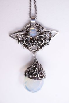 Shiallia - handcrafted fine and sterling silver unique, extraordinary neclace with hudge drop of opalite, wire wrapping, wire wrap