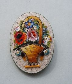 micro-mosaic flower basket brooch Italy