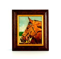 Vintage Oil Painting - 1960's Realist Painting - Chestnut Horse - Signed & Framed - Horse Art - Horse Painting by ShoulderBone on Etsy https://www.etsy.com/listing/460846658/vintage-oil-painting-1960s-realist