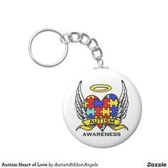 Autism Heart of Love Basic Round Button Keychain