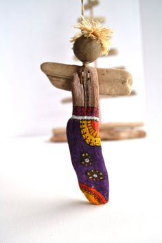 Driftwood Angel decorated with acrylic paint