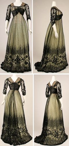 Picture 1 of 2. Ball gown, American, ca. 1908. Silk, cotton, glass, metallic…