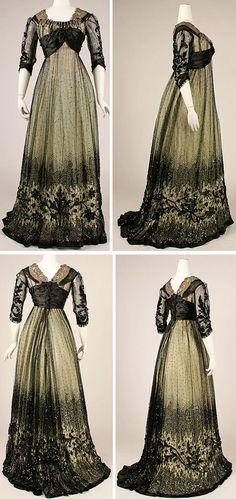 Picture 1 of 2. Ball gown, American, ca. 1908. Silk, cotton, glass, metallic thread. Metropolitan Museum of Art
