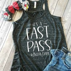 Disney Shirts, It's A Fast Pass Kinda Day Flowy Tank – Disney shirts for women – Disney Family Shirts – Disney Tank tops - business ideas for women diy Cute Disney Outfits, Disney World Outfits, Disney Themed Outfits, Disney World Shirts, Disney Shirts For Family, Disney Family, Family Shirts, Disney Clothes, Disney Fashion