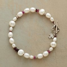"PEARLS Pearls & Pink Bracelet Pink garnets, rubellites and sapphires spark gloriously multiform strands of cultured pearls. With sterling silver beads and toggle clasp. Handcrafted exclusive. 7-1/2""L. $58"