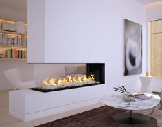 Flare Room Definer is a luxurious peninsula gas fireplace. You can choose between protective screens or double glass for your modern frameless linear fireplace. Linear Fireplace, Double Sided Fireplace, Custom Fireplace, Small Fireplace, Home Fireplace, Fireplace Inserts, Living Room With Fireplace, Fireplace Design, Fireplace Ideas