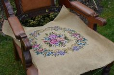 Vintage handmade embroidery needlepoint chair door patcheduppillows