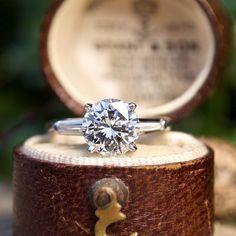 GIA 1.9CT F/VS2 Round Brilliant Diamond Vintage Engagement Ring