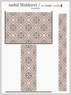 Semne Cusute: ie din MOLDOVA, Galati Folk Embroidery, Embroidery Patterns, Cross Stitch Patterns, Knitting Patterns, Moldova, Hama Beads, Creative Inspiration, Cross Stitching, Beading Patterns