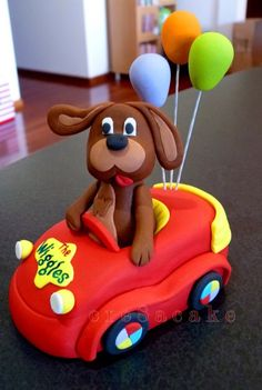 Fondant Wags the dog in Wiggles Car Wiggles Birthday, Wiggles Party, Wiggles Cake, The Wiggles, Dog Cake Topper, Fondant Toppers, Second Birthday Ideas, 2nd Birthday, Kids Party Themes