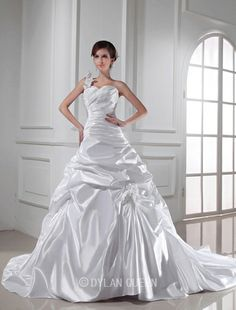 Beautiful A-line One-shoulder Sweetheart Sleeveless Chapel Train Elastic Woven Satin Wedding Dress with Pleats
