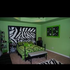 I decorated my daughter's room and painted a zebra print on 2 of the walls.