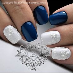 @evatornado blue and white engraved nail art