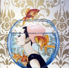 AUDREY IN THE FISHBOWL  48x48