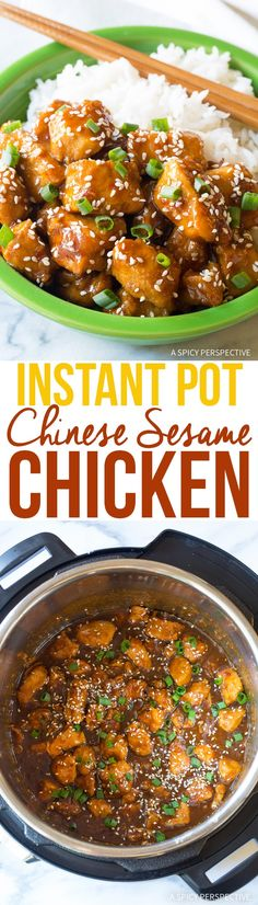 Instant Pot Chinese Sesame Chicken Recipe - An easy pressure cooker version of classic Honey Sesame Chicken with a kick, similar to General Tso's Chicken. via @spicyperspectiv