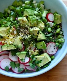 Avocado and Edamame Salad  Serves 4 large or 6 small servings  1 16-ounce bag frozen shelled edamame, thawed 1 clove garlic, minced 1 ...