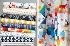 The launch of the first collection by Flock Design Collective is just around the corner, coming soon to Liberty London and Studio Four, New York. We're all a little bit excited!  Left: Designs by Angela Johnston, Cerys Ackland, Lucy Rainbow and Rachel Parker. Right: Detail of 'Northmore Blend' by Rachel Parker.
