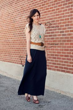 Love the loose crochet sweater over the maxi dress. Maxi skirt would work too
