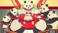fuckyeahanimefood:    The Panda Family have Christmas Cake, Shirokuma Cafe, Episode 37.