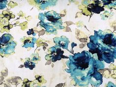 Roses are Blue Cotton Spun Fabric By The Yard Curtain Fabric Upholstery Fabric Curtain Panels Drapery Fabric Window Treatment Fabric