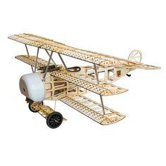 $96.00 Replica of Fokker Dr.I 770mm Wingspan Balsa Wood Triplane Warbird RC Airplane KIT