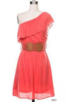 NEW Coral Mint Western ONE Shoulder Belt Summer Gathered Ruffle Full Dress   eBay