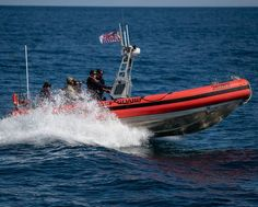 Crew members of the U.S. Coast Guard Cutter Escanaba (WMEC 907) perform security exercises at sea on a 26-foot Over-the-Horizon small boat off Cape Cod, Massachusetts. Patriotic Poems, Coast Guard Cutter, Small Boats, Cape Cod, Sea, Massachusetts, Exercises, Cod, Exercise Routines