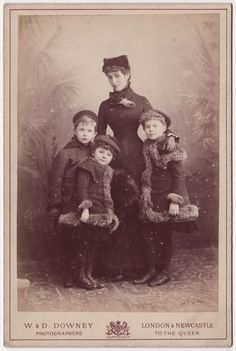 "Mary 'Patsy' Cornwallis-West, with her children Daisy, Constance (nicknamed Shelagh--pronounced ""sheila"") and George (who married Lady Randolph Churchill in 1900). The Cornwallis-Wests were poor, but she managed to marry her daughters to wealthy and powerful men. George, her favorite, disappointed by his marriages to poor women twice his age!"