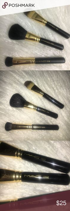 Limited edition short handle brushes by MAC Travel size handle.. regular size head  MAC cosmetics holiday edition brushes. Gently worn .. like new ver well taken care of and completely cleaned. MAC Cosmetics Makeup Brushes & Tools