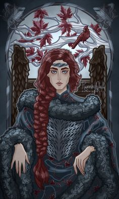 """runningquill-art: The Queen in the North [IG. - runningquill-art: """" The Queen in the North [IG """" Eddard Stark, Sansa Stark, I Got A Man, Got Stark, Stark Family, Perfect Eyelashes, Drawing Software, The North Remembers, Book Characters"""