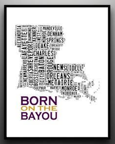 LOUISIANA State Map Typography