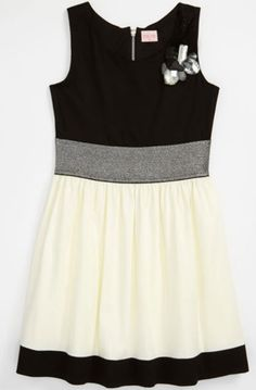 Zoe Ltd Tween Girls Black and Ivory Color Block Party Dress $98.99