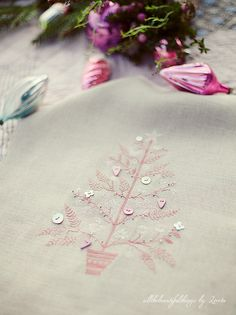 Pink Christmas tree embroidery with buttons as ornaments