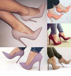 Women Fashion Summer Purple Solid High Heel Thin Heel Sexy Casual Work Shoes Colors: Purple, Pink, Orange, Red, Khaki
