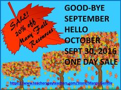 One day sale! Many fall-themed products for elementary school age students.Browse & buy at