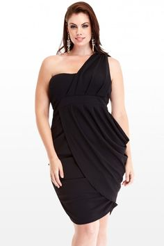 $36.50 // Plus Size Grecian Draped Dress | Fashion To Figure