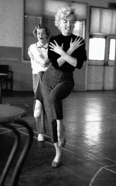 "Marilyn Monroe at a dance rehearsal for ""Bus Stop"", 1956."