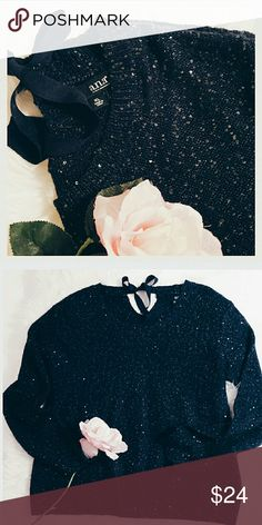 """A.N.A Blue Sequin Sweater Blue sweater with sparkling sequins and blue ribbon tie in back. Size XL. Sleeves: 22"""". Chest: underarm to underarm: 22"""". Length from shoulder to bottom hem: 26"""". a.n.a Sweaters Crew & Scoop Necks"""