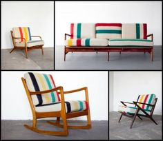 Antique Chair With Pendleton Style Camp Blanket Upholstery