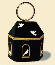 1940s Anne-Marie of France Felt birdhouse wristlet purse.