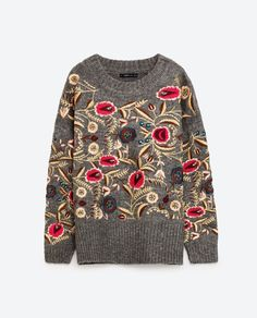 Image 8 of FLORAL EMBROIDERED OVERSIZED SWEATER from Zara