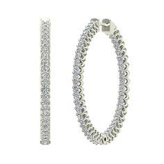 G,SI 23 mm Long Channel Set Diamond Hoop Earrings Click Lock Setting 0.95 ctw 14k Gold