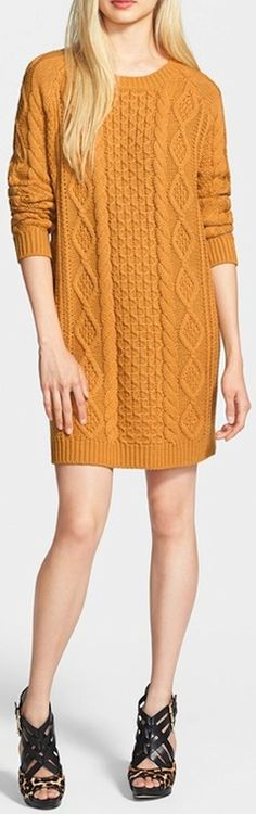 Cosy cable knit sweater dress. http://rstyle.me/n/sve8rbg7t7