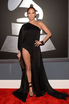 Jennifer Lopez in Anthony Vaccarello, 55th Annual Grammy Awards, 2013   - HarpersBAZAAR.com