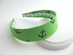 Nautical Preppy Fabric Covered Headband, Kelly Green with Navy Blue Anchors Girls & Adult Headband via Etsy