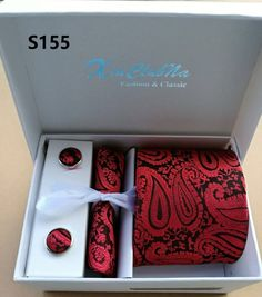 Silver Paisley Man Tie, Handkerchief, Pin and Cufflinks Gift box Packing