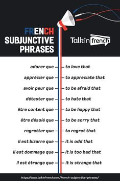 Looking for French subjunctive phrases? Here's a useful list that sorts French s… Looking for French subjunctive phrases? Here's a useful list that sorts French subjunctive phrases according to type. French Verbs, French Grammar, English Grammar, French Language Lessons, French Language Learning, French Lessons, Foreign Language, Spanish Lessons, Spanish Language